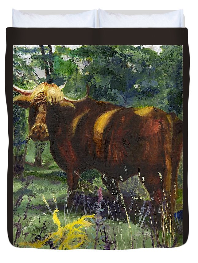 Bull Duvet Cover featuring the painting The Woolly Beast by Gloria Condon