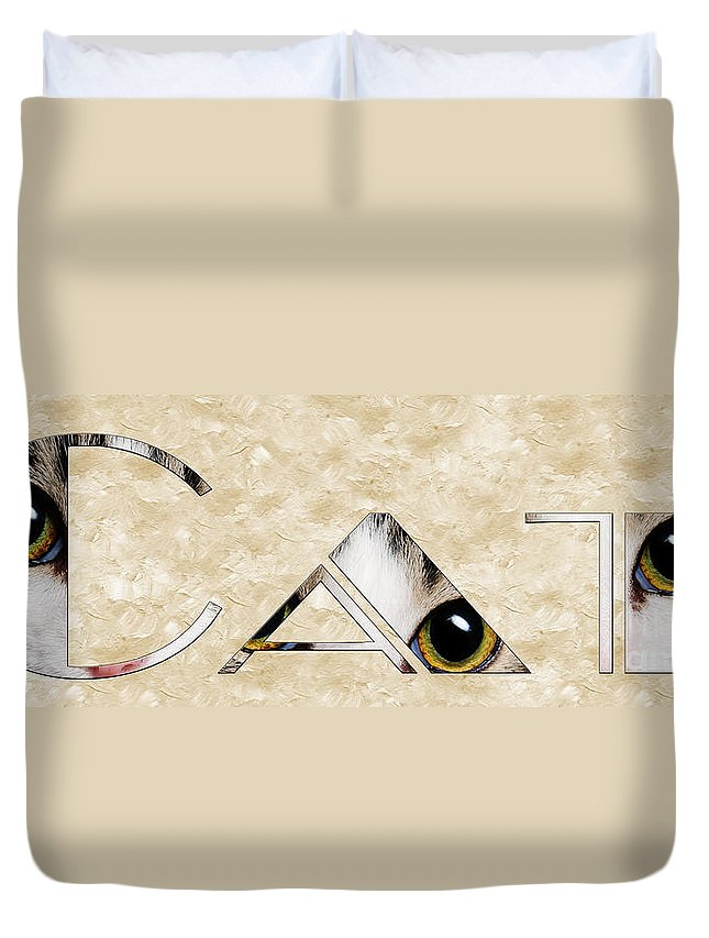 Cat Duvet Cover featuring the mixed media The Word Is Cat by Andee Design
