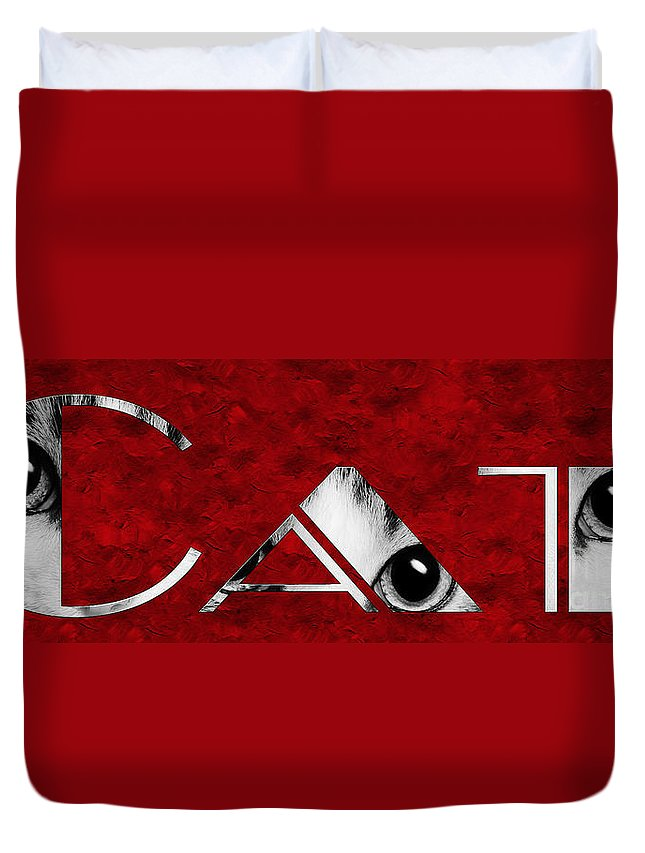 Andee Design Cat Duvet Cover featuring the photograph The Word Is Cat Bw On Red by Andee Design