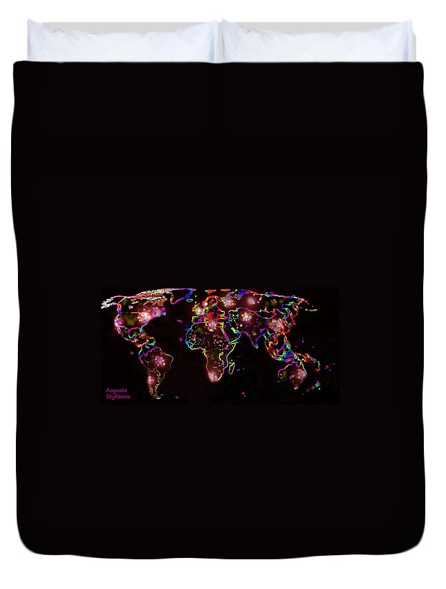 Augusta Stylianou Duvet Cover featuring the digital art The World At Night by Augusta Stylianou