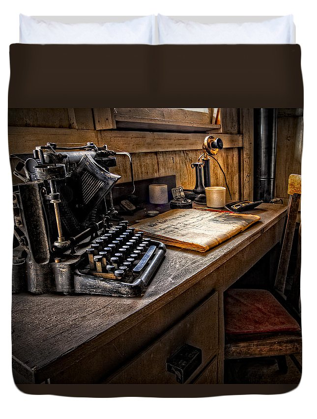 Appalachia Duvet Cover featuring the photograph The Writer's Desk by Debra and Dave Vanderlaan