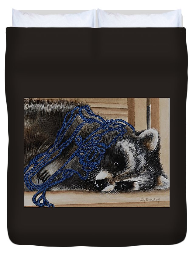 Raccoon Duvet Cover featuring the painting The Yarn Won by Joy Bradley
