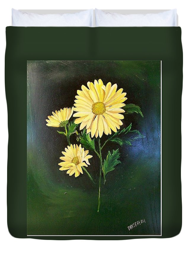 Flower Duvet Cover featuring the painting The Yellow Daisy by Wanda Dansereau