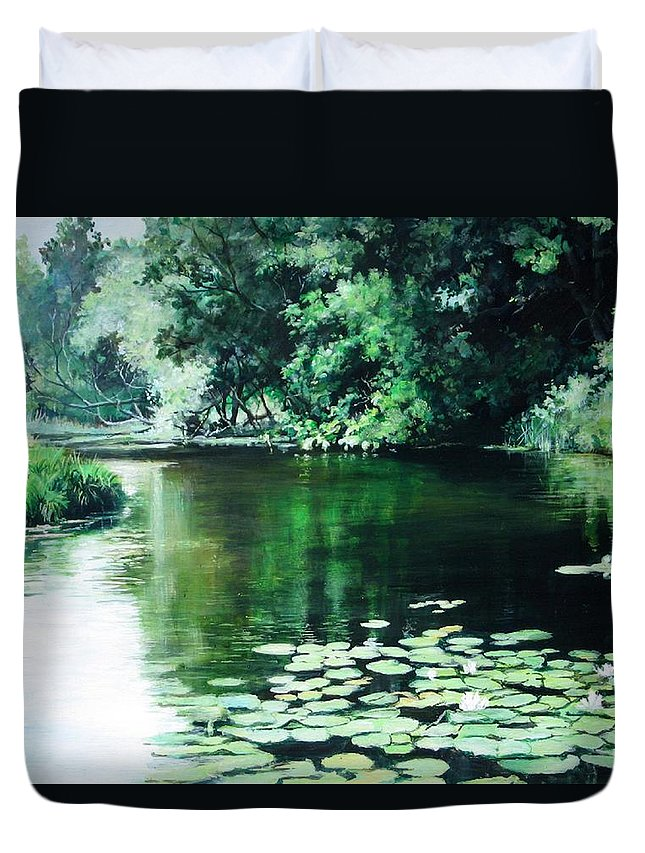 Landscape Duvet Cover featuring the painting Their Spot by William Brody