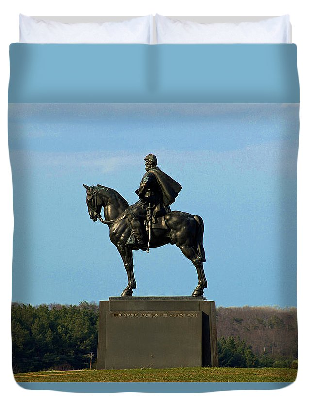 Civil War Duvet Cover featuring the photograph There Stands Jackson by Howard Tenke