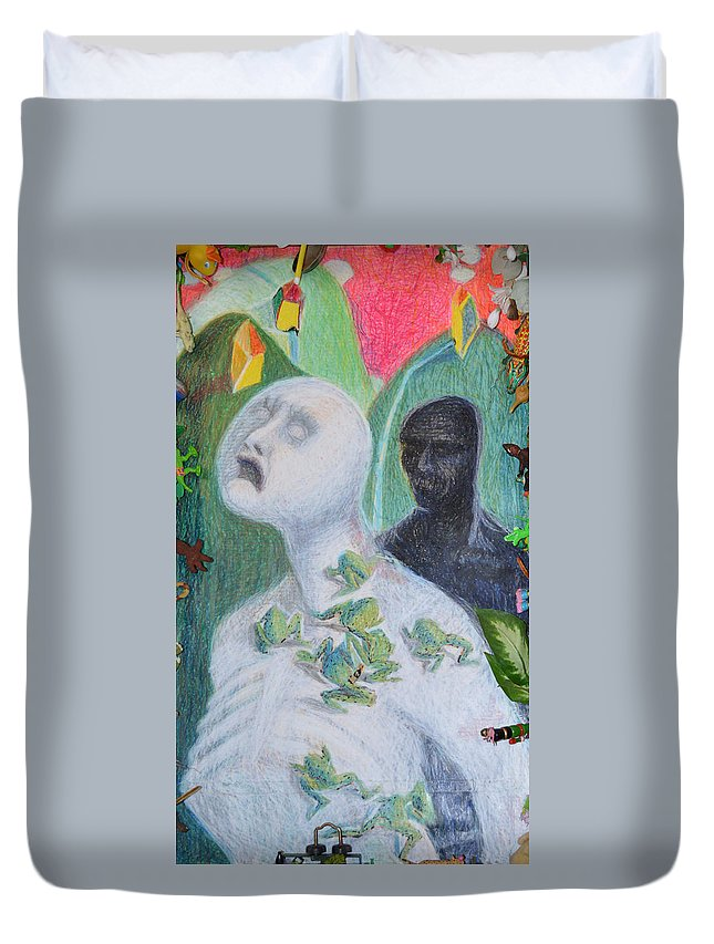 Abstract Modern Raw Outsider Red White Figure Person Toys Duvet Cover featuring the painting They Are The Standing Dead by Nancy Mauerman