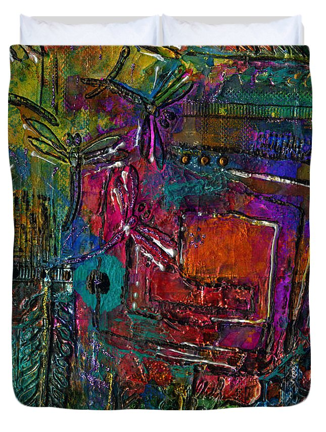 Metal Art Duvet Cover featuring the mixed media They Sing Of Freedom by Angela L Walker