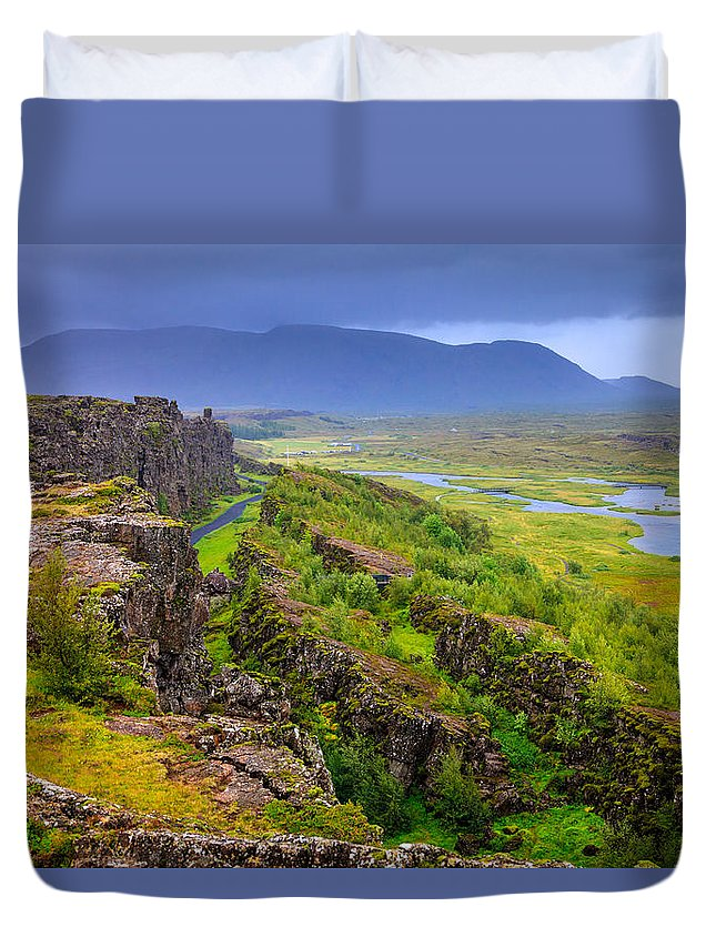 Europe Duvet Cover featuring the photograph Thingvellir National Park Rift Valley by Alexey Stiop