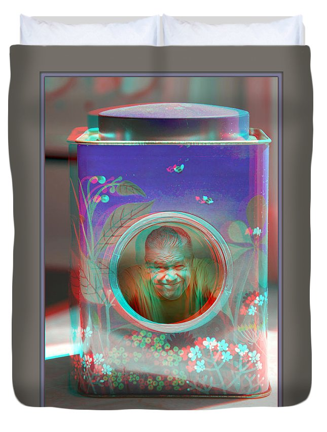 3d Duvet Cover featuring the photograph Thinking Inside The Box - Red/cyan Filtered 3d Glasses Required by Brian Wallace