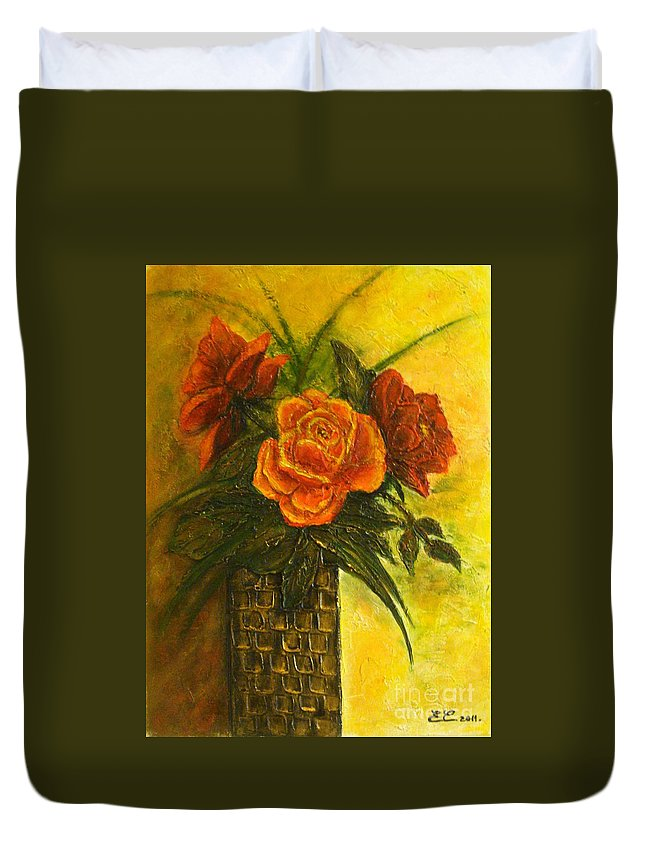 Roses Duvet Cover featuring the painting Thinking Of You... by Elena Constantinescu