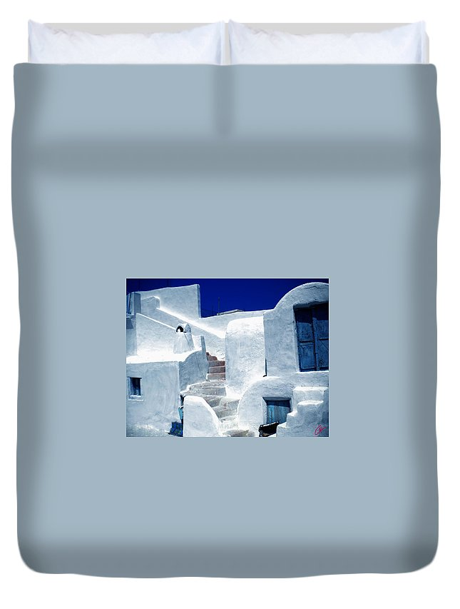 Colette Duvet Cover featuring the photograph Thirasia Island Ancient House Near Santorini Greece by Colette V Hera Guggenheim