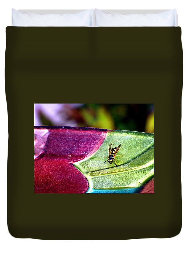 Yellow Jacket Duvet Cover featuring the photograph Thirsty by Greg Simmons