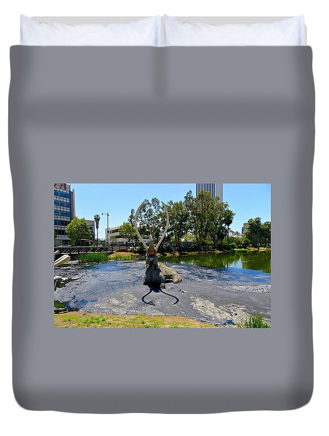Tar Duvet Cover featuring the photograph This Is The Pits by Denise Mazzocco