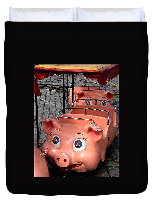 Pig Duvet Cover featuring the photograph This Little Piggy Went To Market by Leena Pekkalainen