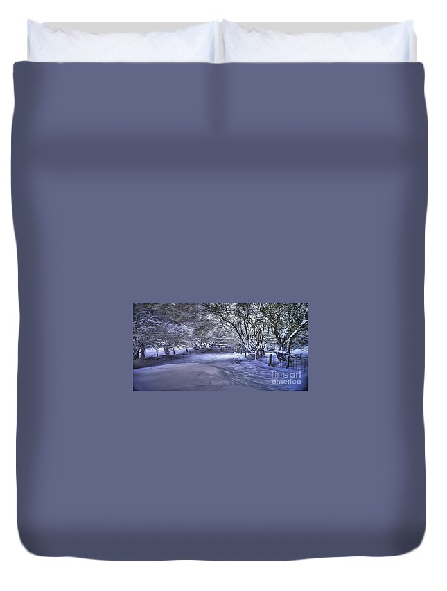 Winter Countryside Duvet Cover featuring the photograph This Way To Fairy Glen by P Donovan