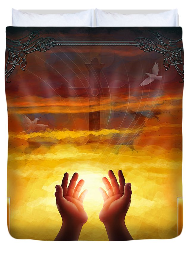 Dead Duvet Cover featuring the digital art Those Who Have Departed - Religious Version by Peter Awax