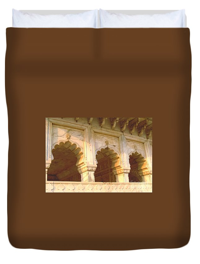 Arches Duvet Cover featuring the photograph Three Arches At Sunrise by Mary Pille
