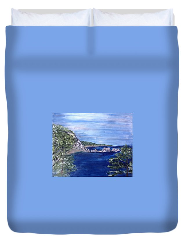 Seascape Duvet Cover featuring the painting Three Arches Rock by Suzanne Surber