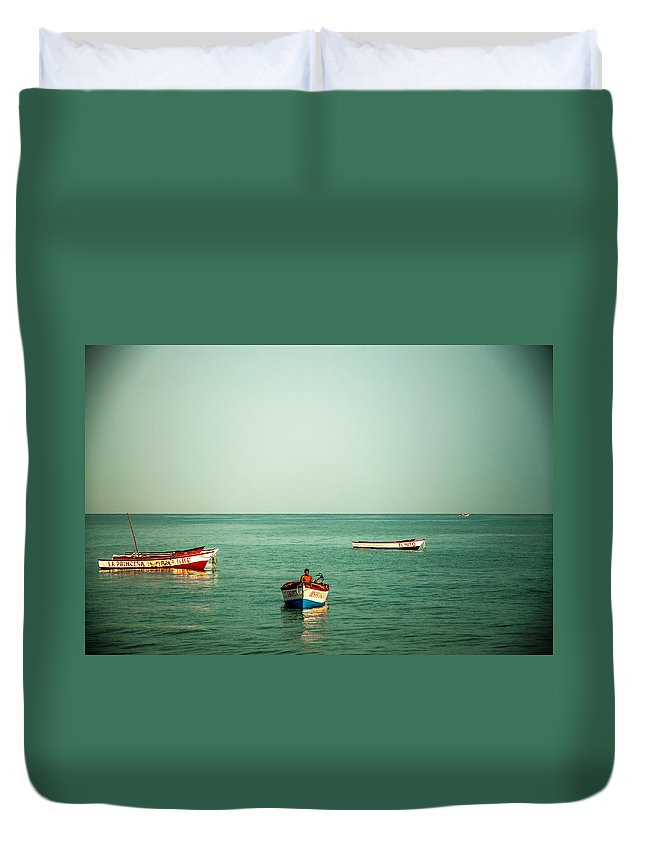 Water Duvet Cover featuring the photograph Three Boats by Jess Kraft