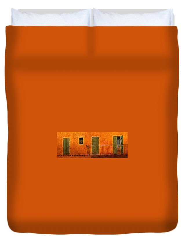 Doors Duvet Cover featuring the photograph Three Doors In Provence by Dave Mills