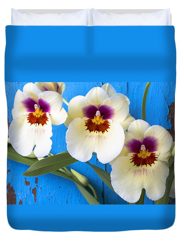 Ow Duvet Cover featuring the photograph Three Exotic Orchids by Garry Gay