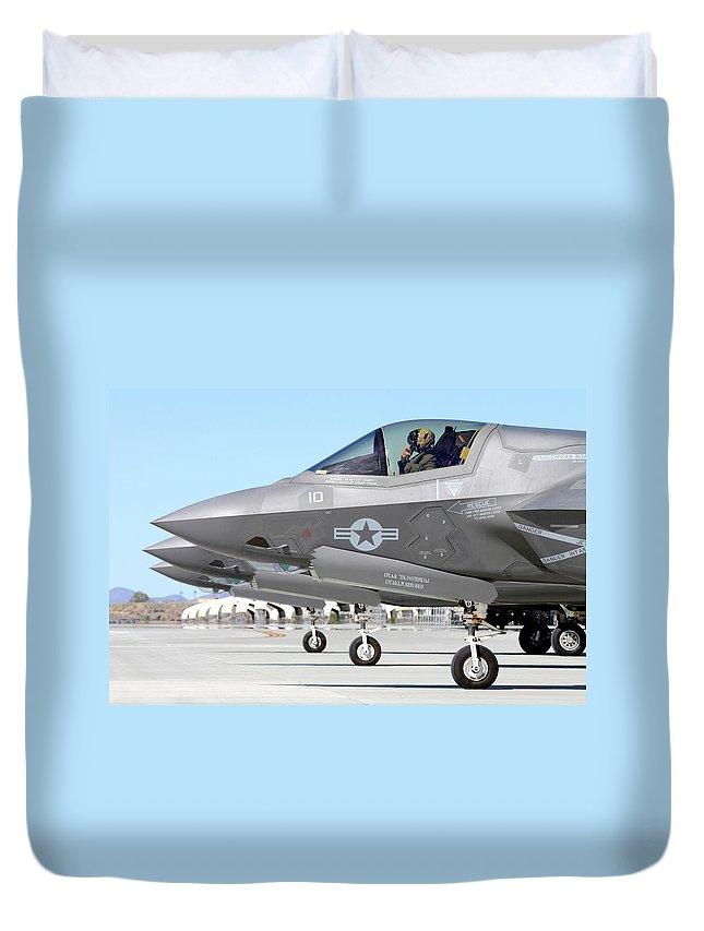 Marine Corps Air Station Yuma Duvet Cover featuring the photograph Three F-35b Lightning IIs At Marine by Riccardo Niccoli