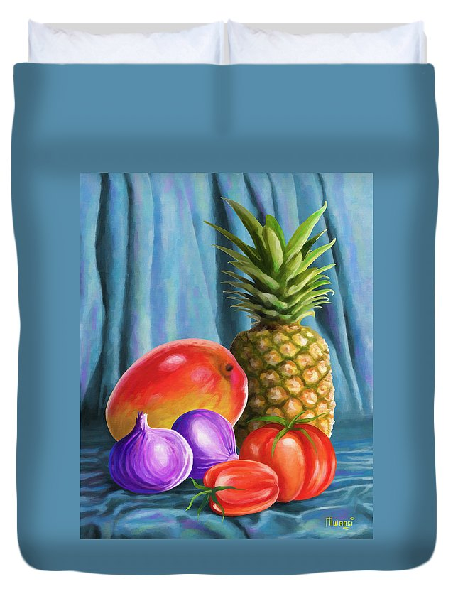 Pineapple Duvet Cover featuring the painting Three Fruits And A Vegetable by Anthony Mwangi