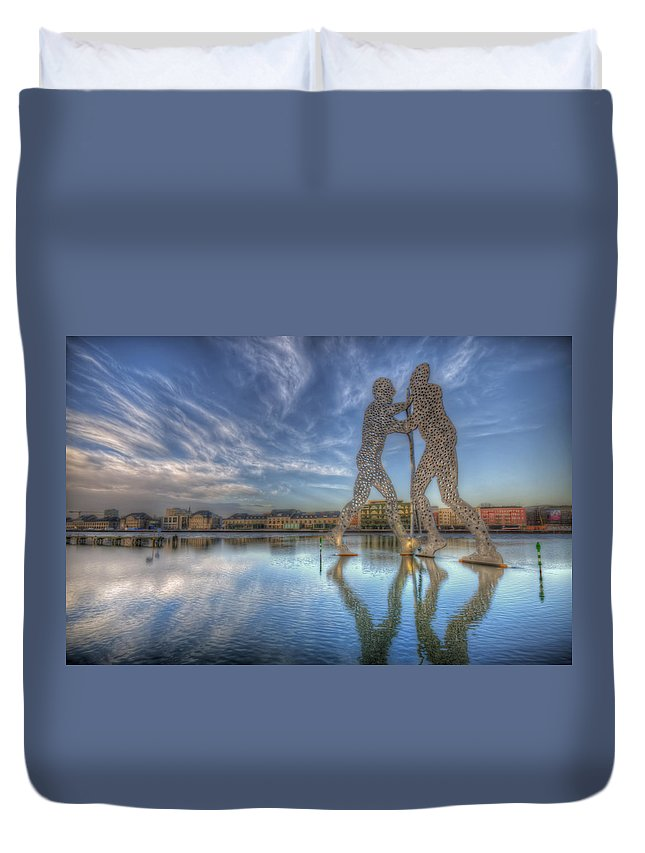 Architecture Duvet Cover featuring the digital art Three Holey Men by Nathan Wright