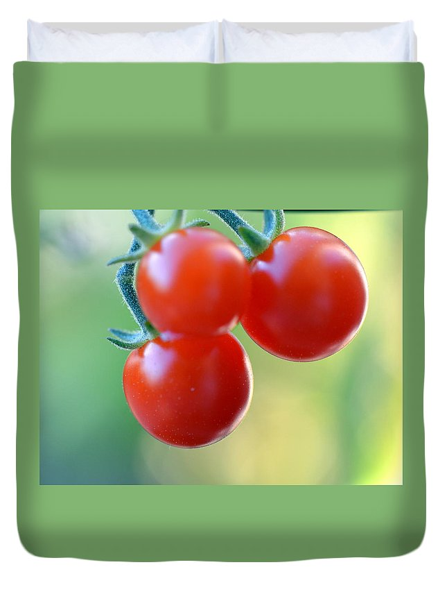 Tomato Duvet Cover featuring the photograph Three Little Tomatoes by Lena Photo Art
