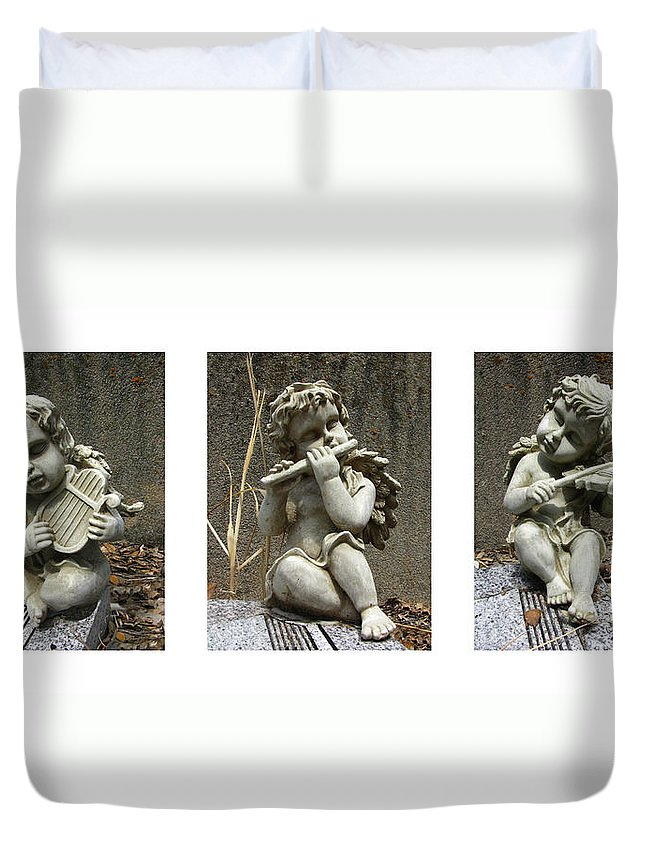 Three Duvet Cover featuring the photograph Three Musicians Triptych by Peter Piatt