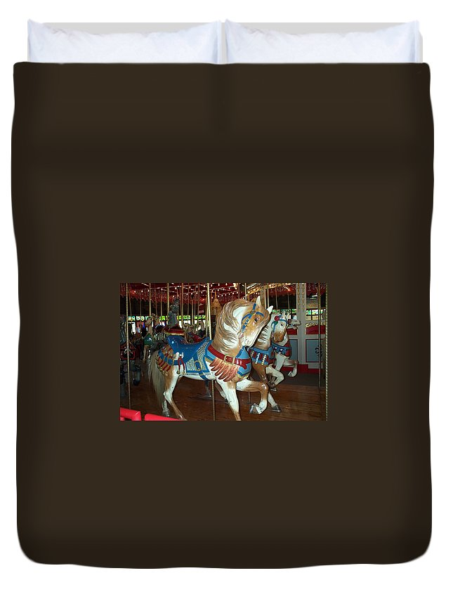 Carousel Duvet Cover featuring the photograph Three Ponies In White And Brown - Ct by Barbara McDevitt