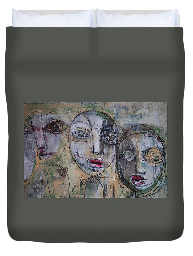 Pop Surrealism Duvet Cover featuring the painting Three Portraits On Paper by Laurie Maves ART