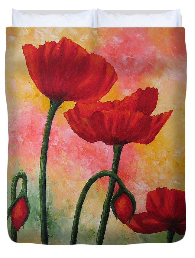 Red Poppies Duvet Cover featuring the painting Three Red Poppies by Darla Brock