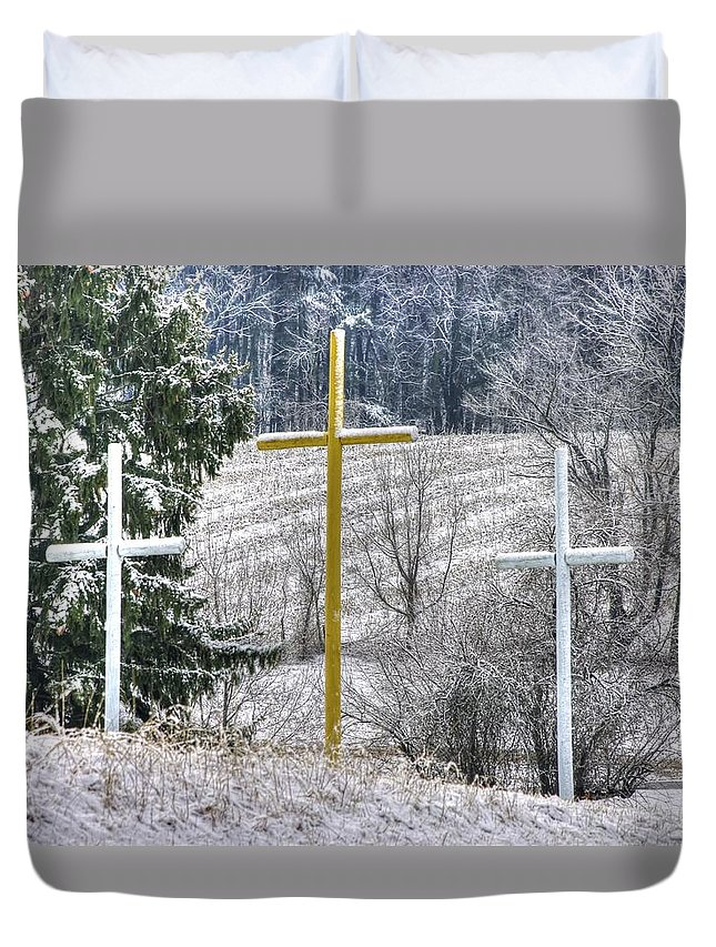 Cross Duvet Cover featuring the photograph Three Roadside Crosses - Mount Airy Md Winter by Michael Mazaika