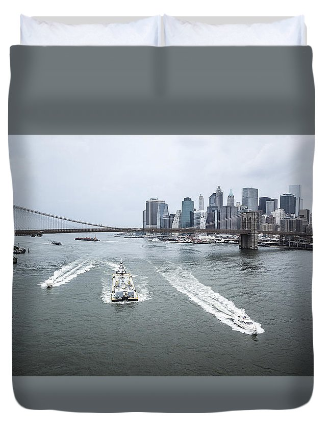 Manhattan Duvet Cover featuring the photograph Three Ships At East River by Alex Potemkin