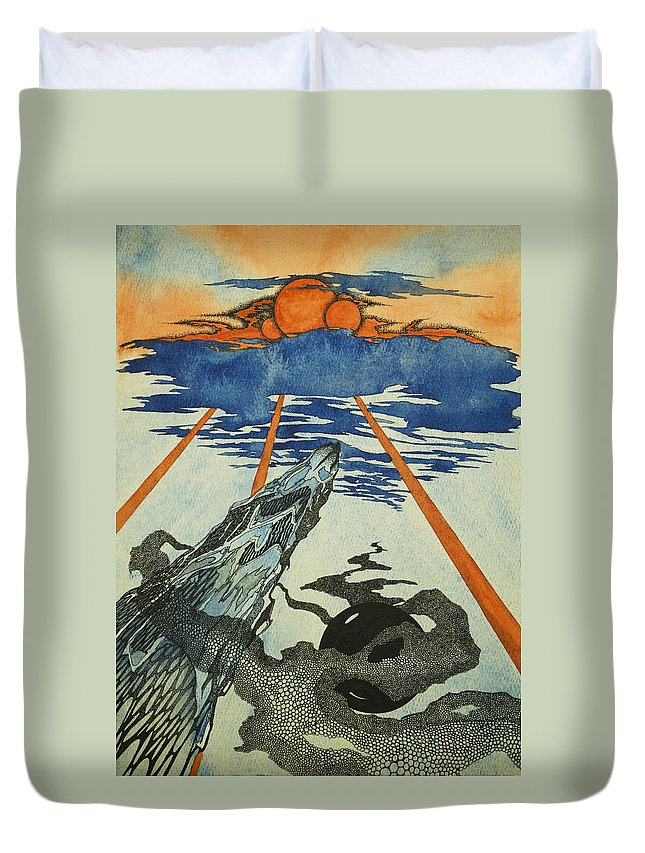 Space Duvet Cover featuring the mixed media Three Suns by Daniel P Cronin