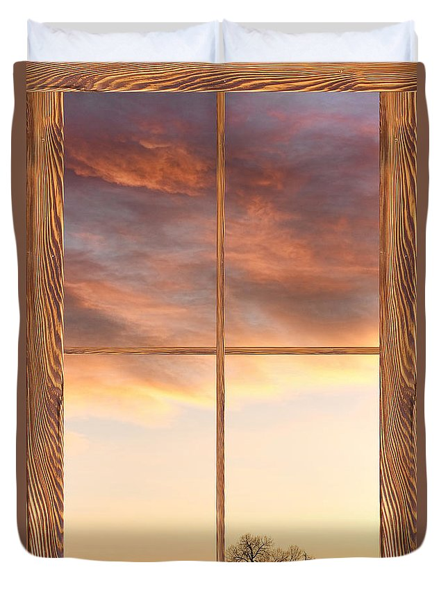 Windows Duvet Cover featuring the photograph Three Trees Sunrise Barn Wood Picture Window Frame View by James BO Insogna
