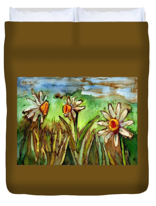 Flowers Duvet Cover featuring the painting Three Trumpets by Diana Cardosi-Bussone