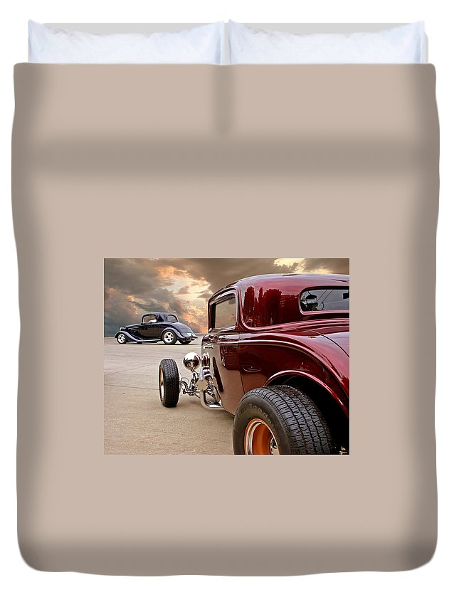 '32 Duvet Cover featuring the photograph Three Window Deuces by Christopher McKenzie