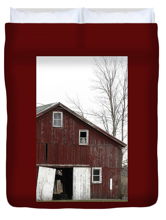 Old Barn Duvet Cover featuring the photograph Three Windows by Debbie Finley
