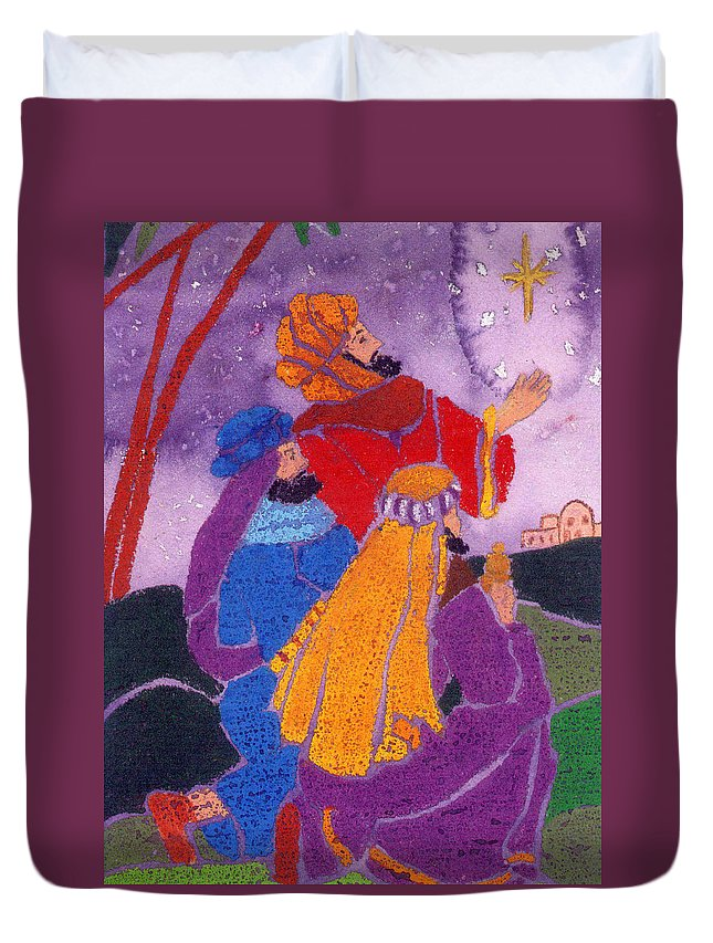 Christmas Duvet Cover featuring the painting Three Wise Men by Carol Lindquist