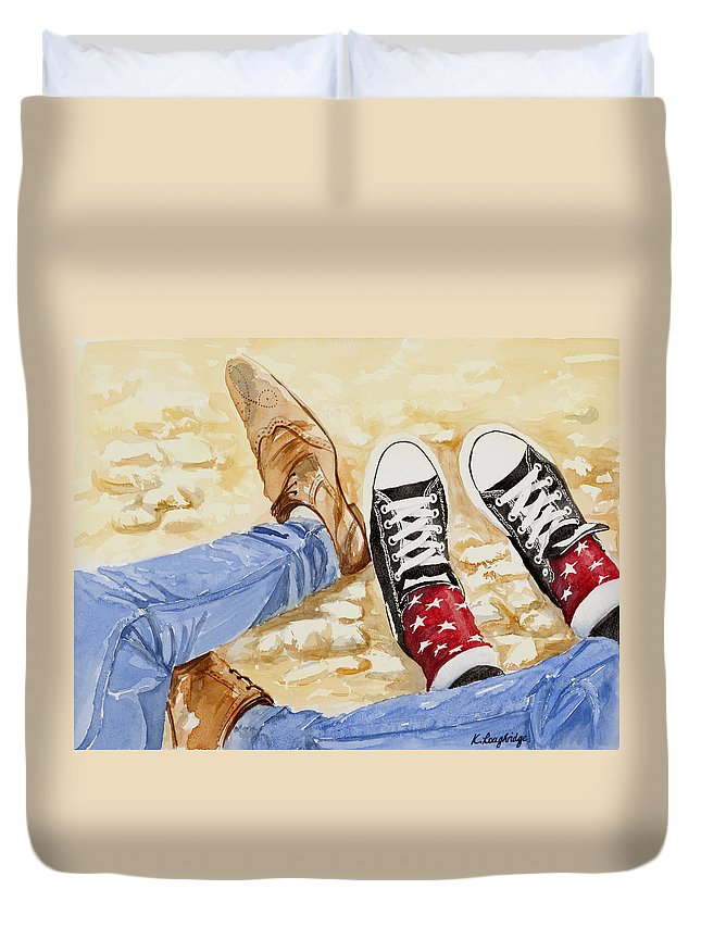 Three's A Crowd Duvet Cover featuring the painting Three's A Crowd by Karen Loughridge KLArt