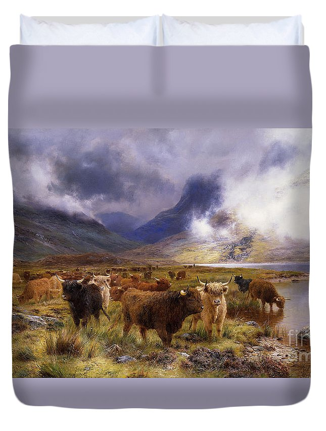 1890s Duvet Cover featuring the painting Through Glencoe By Way To The Tay by Louis Bosworth Hurt