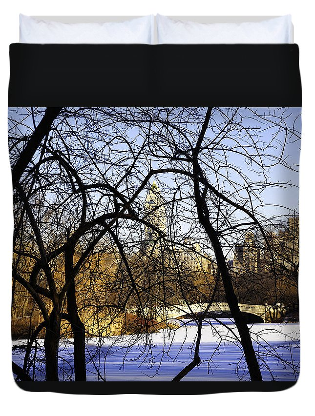 Bridge Duvet Cover featuring the photograph Through The Branches 3 - Central Park - Nyc by Madeline Ellis