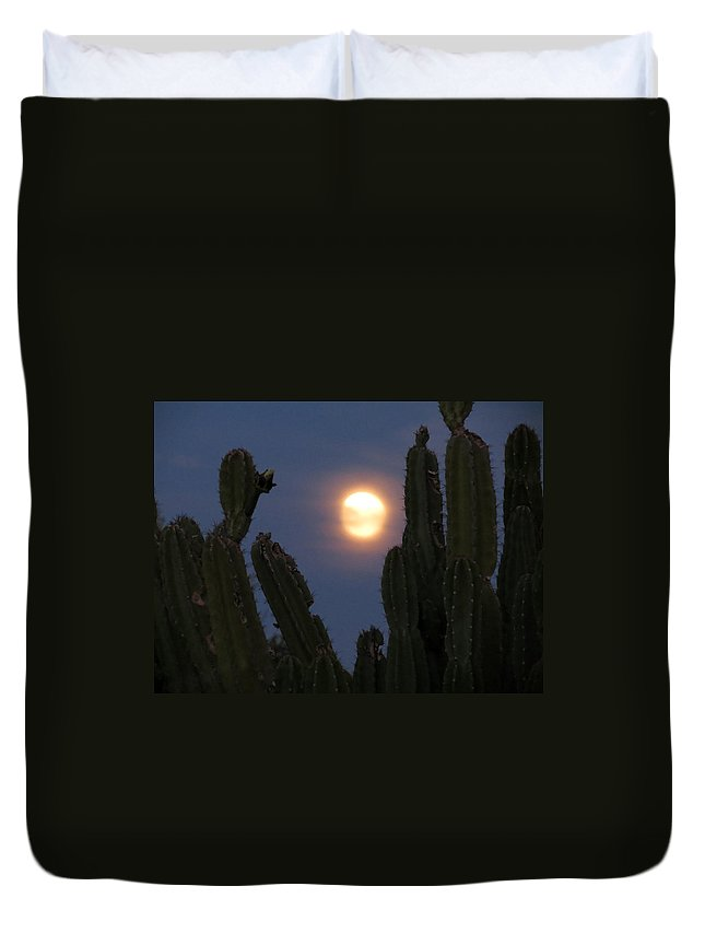 Moon Duvet Cover featuring the photograph Through The Cactus by Laurel Powell