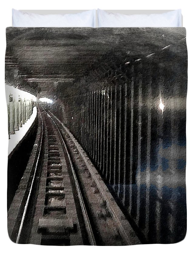 New York City Duvet Cover featuring the painting Through The Last Subway Car Window 3 by Tony Rubino