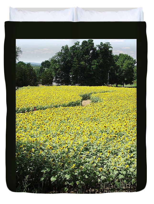 Sunflower Fields Duvet Cover featuring the photograph Through The Sunflowers by Michelle Welles