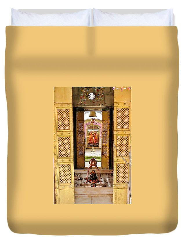 Door Duvet Cover featuring the photograph Through The Temple Doors India by Kim Bemis
