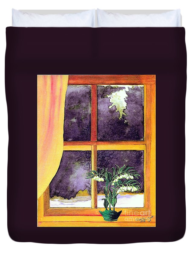 Fine Art Duvet Cover featuring the painting Through The Window by Patricia Griffin Brett