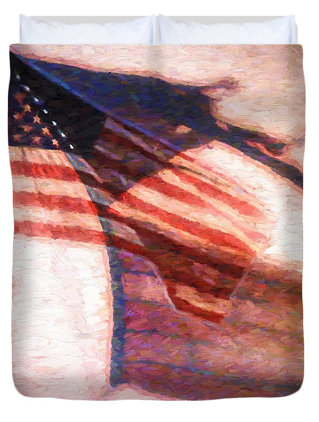 Flag Duvet Cover featuring the painting Through War And Peace by Bob Orsillo